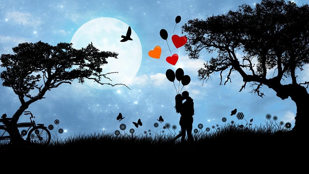 szerelmes pár holdvilágnál